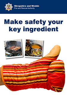 Screen grab of leaflet front featuring an oven glove with thumbs up