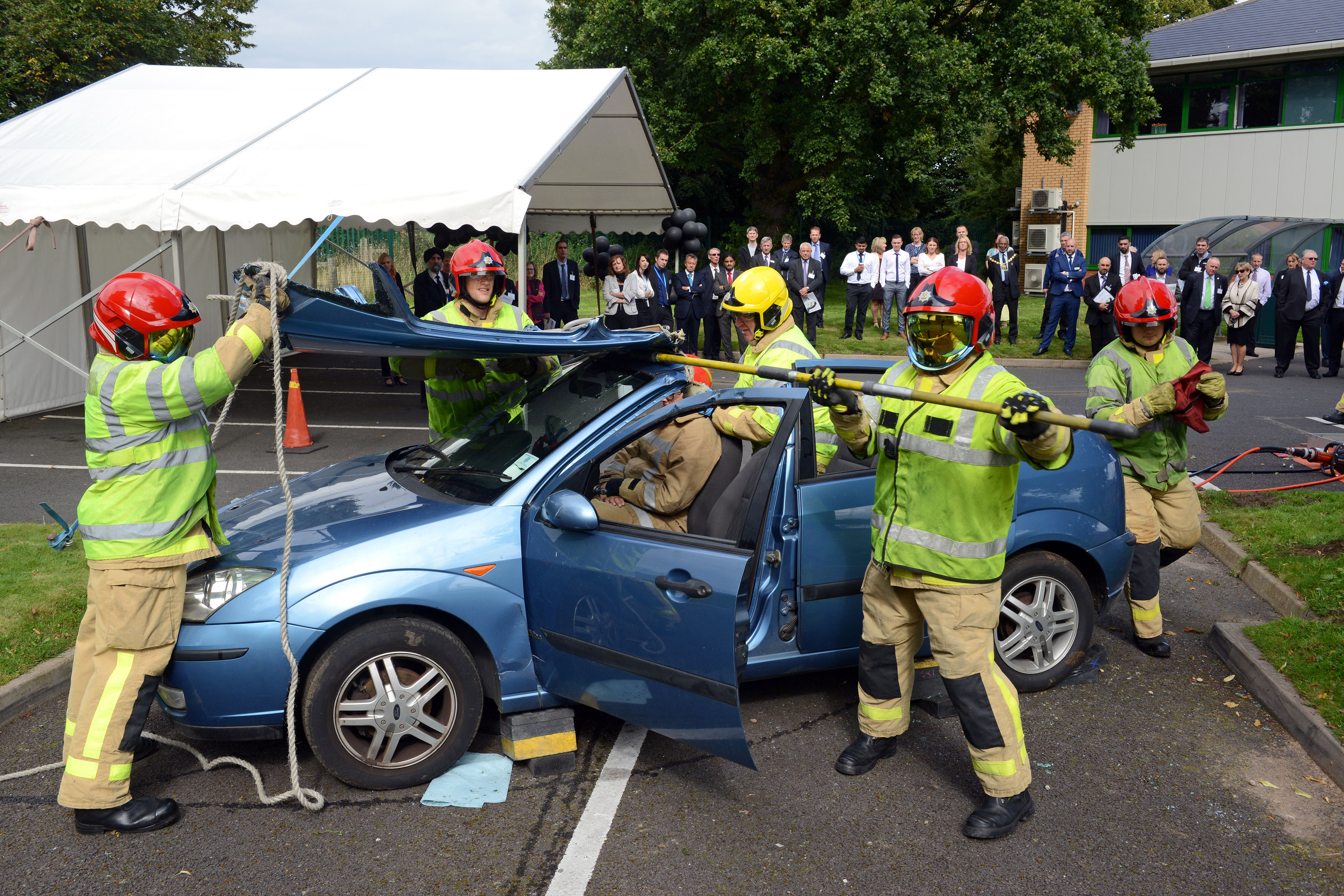 Shropshire firefighters in action at the business driver safety campaign