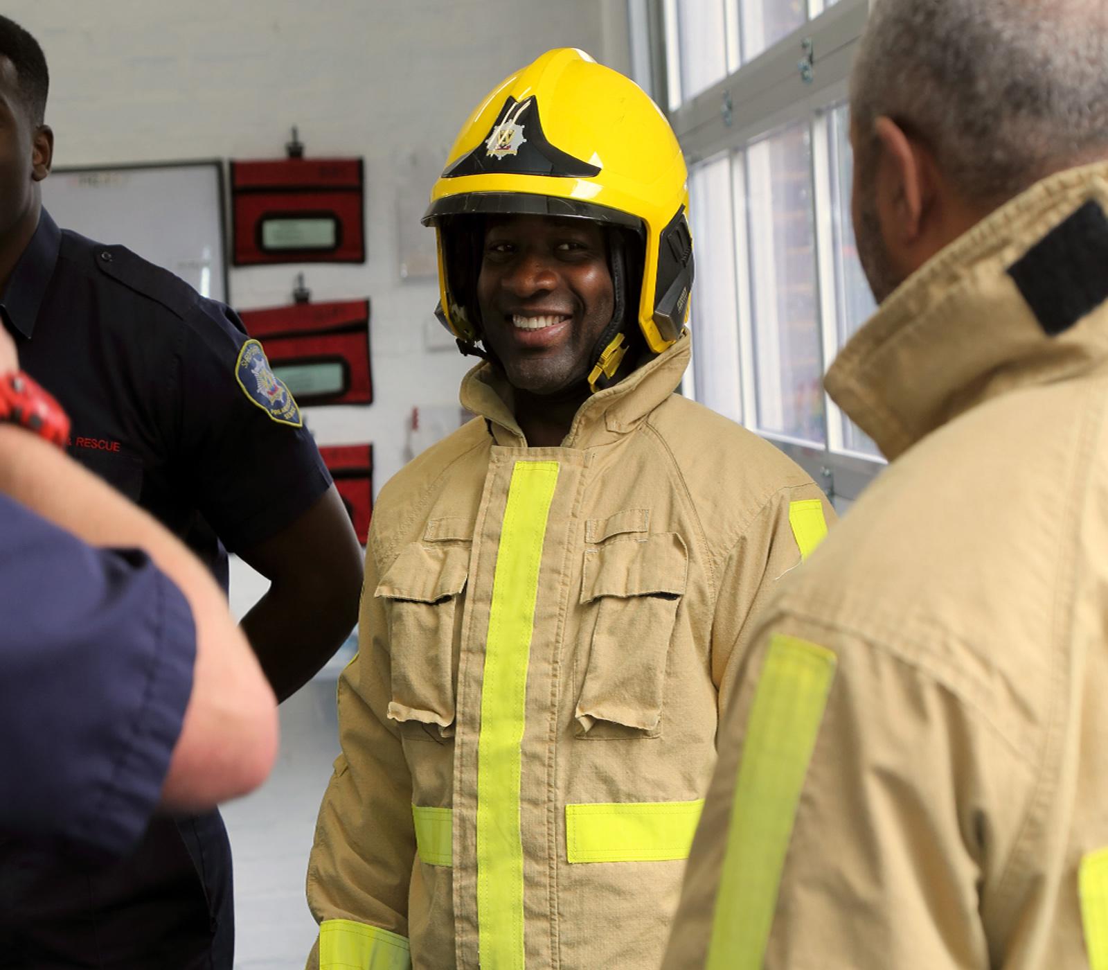Fitzroy Lindsay in fire kit