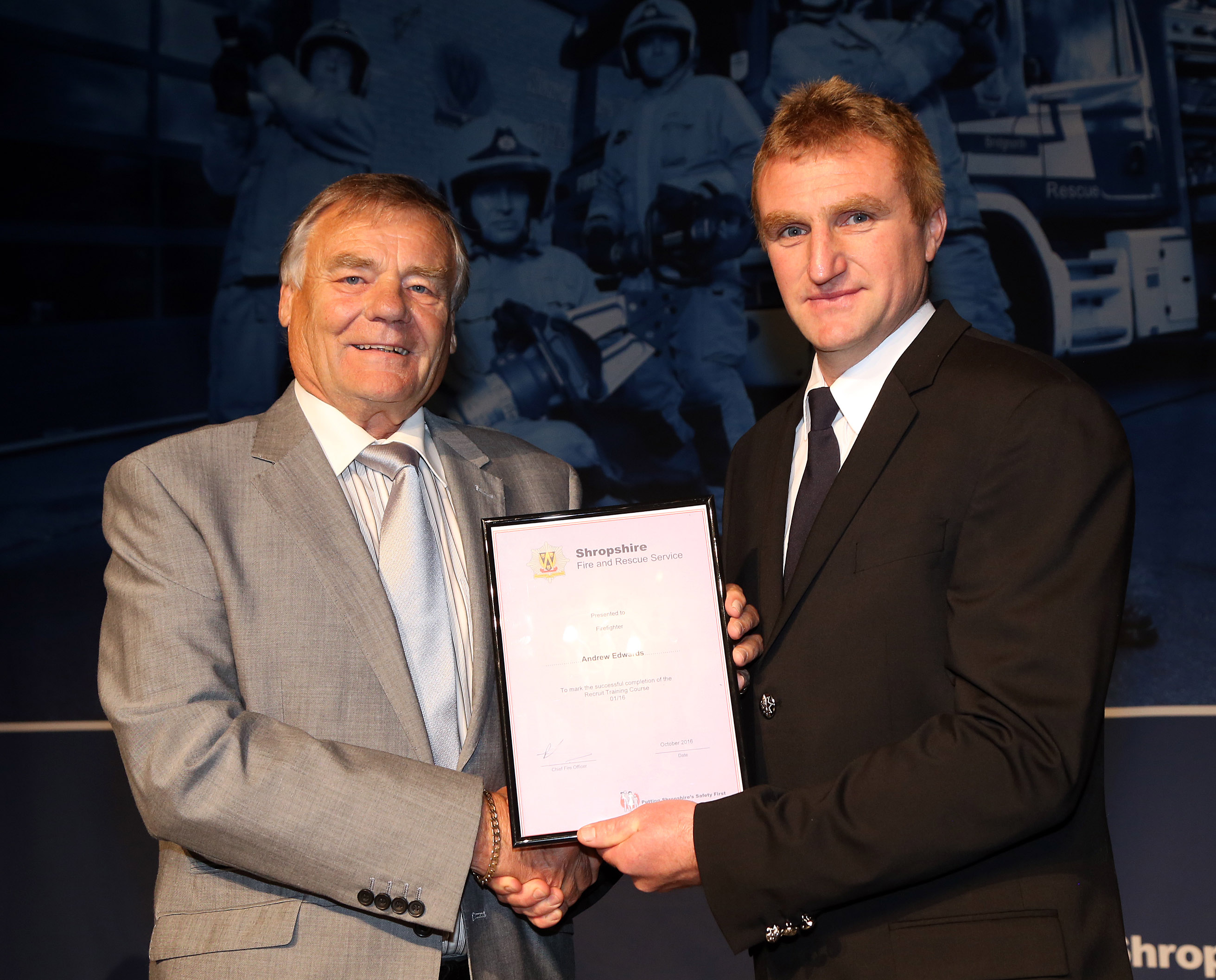 Andrew Edwards, who is following in the firefighter footsteps of both his father and grandfather at Bishops Castle, won the instructors award for his course.