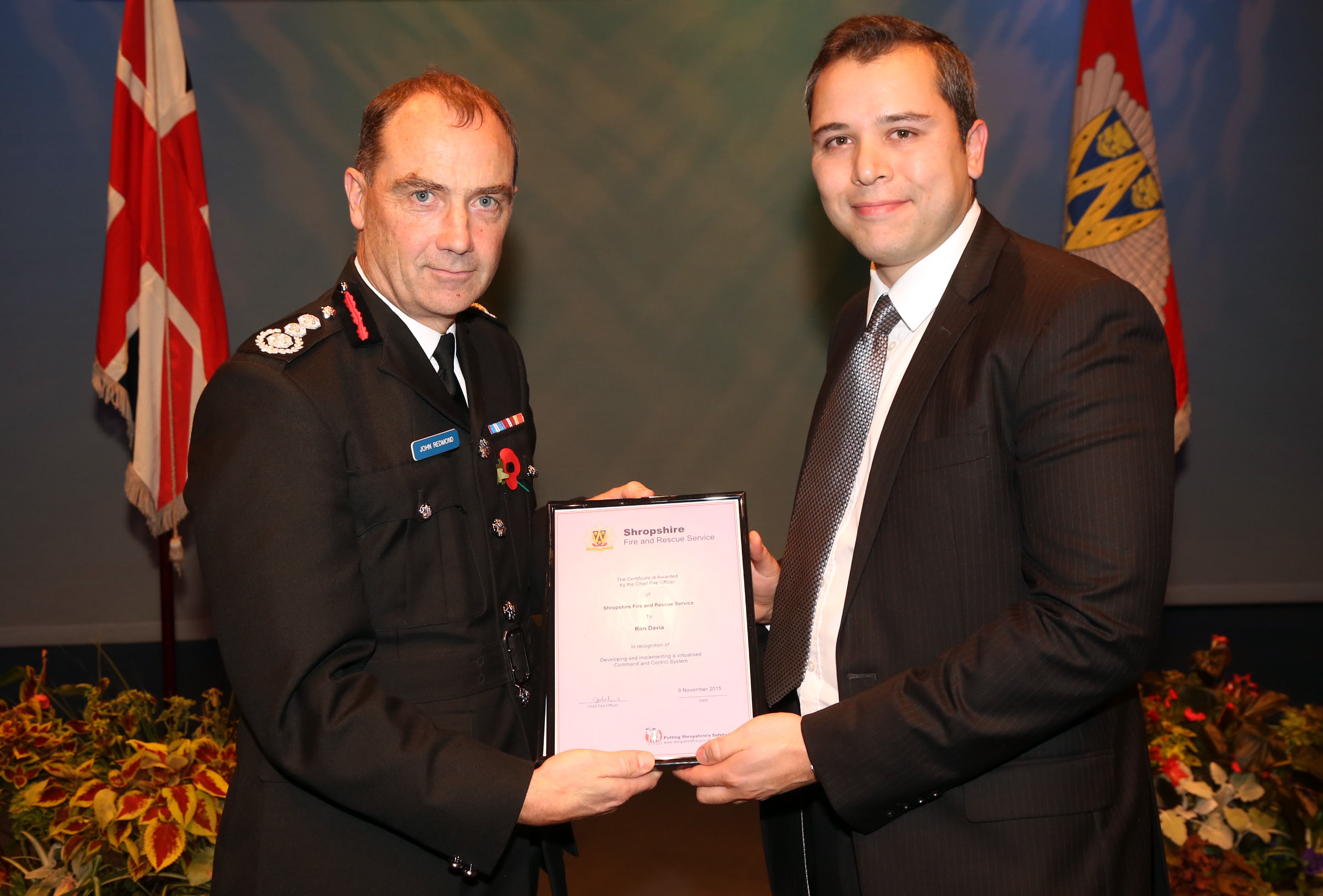 Sally Edwards and Ron Davia (pictured)were praised for their technical IT innovation to improve resilience which has made Shropshire Fire and Rescue Service the first brigade in the UK to make such an achievement