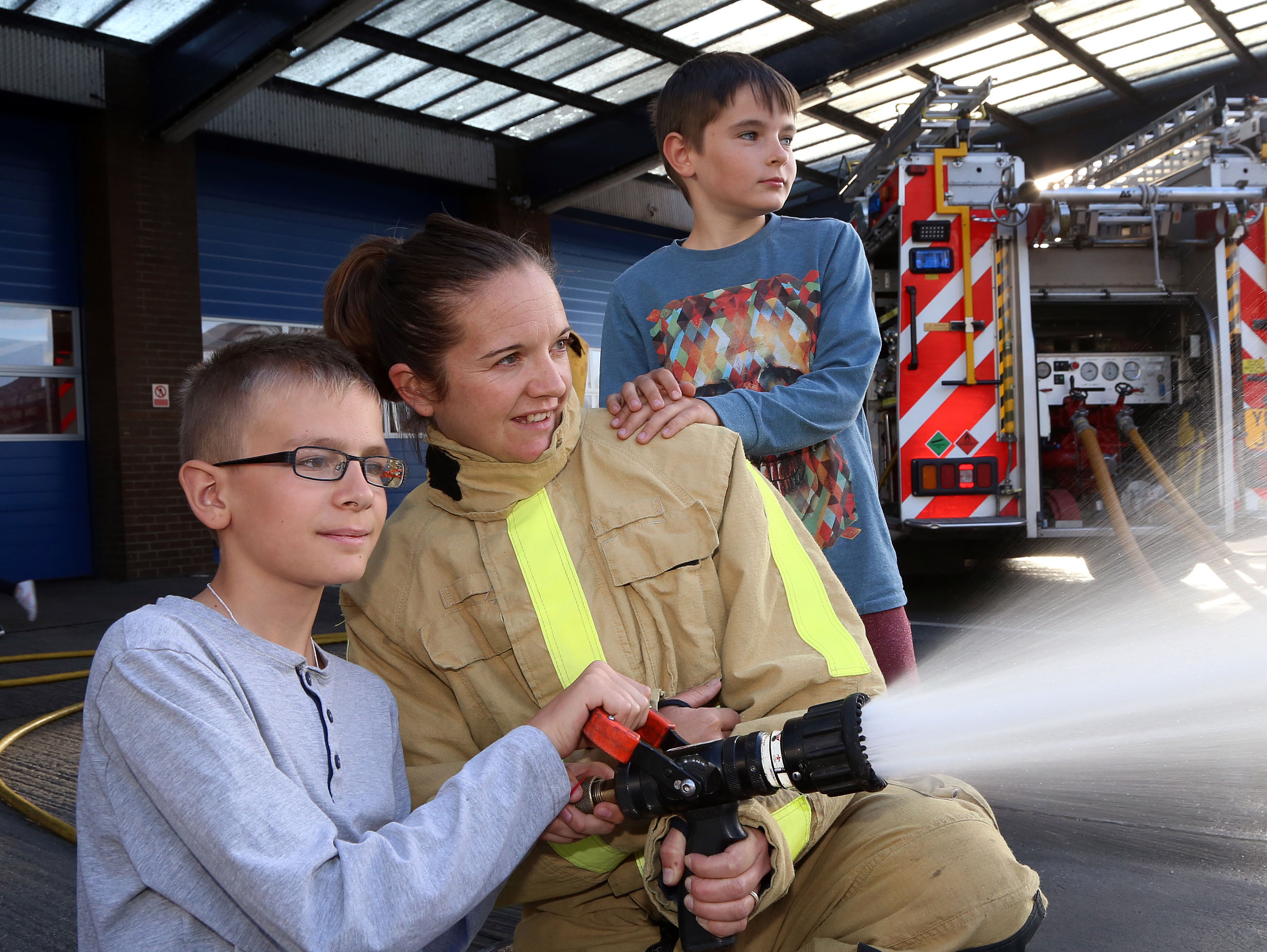 Fun with a Shropshire firefighter for children from Chernobyl