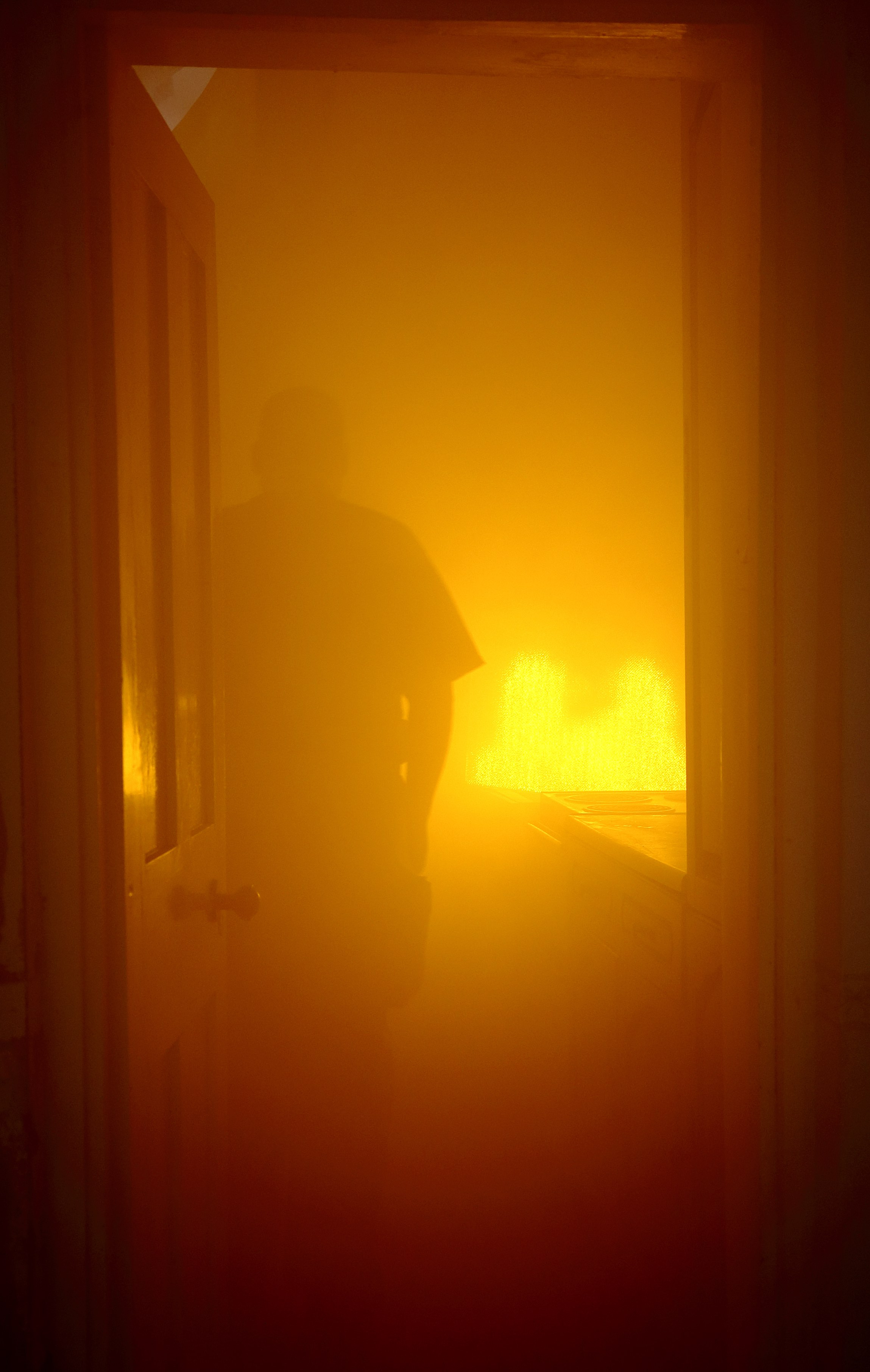 A view inside the smoke filled house at Craven Arms