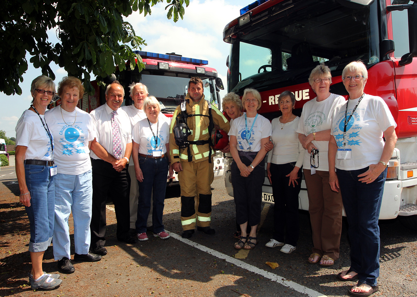 Fire Authority member with Crucial Crew volunteers in Shropshire