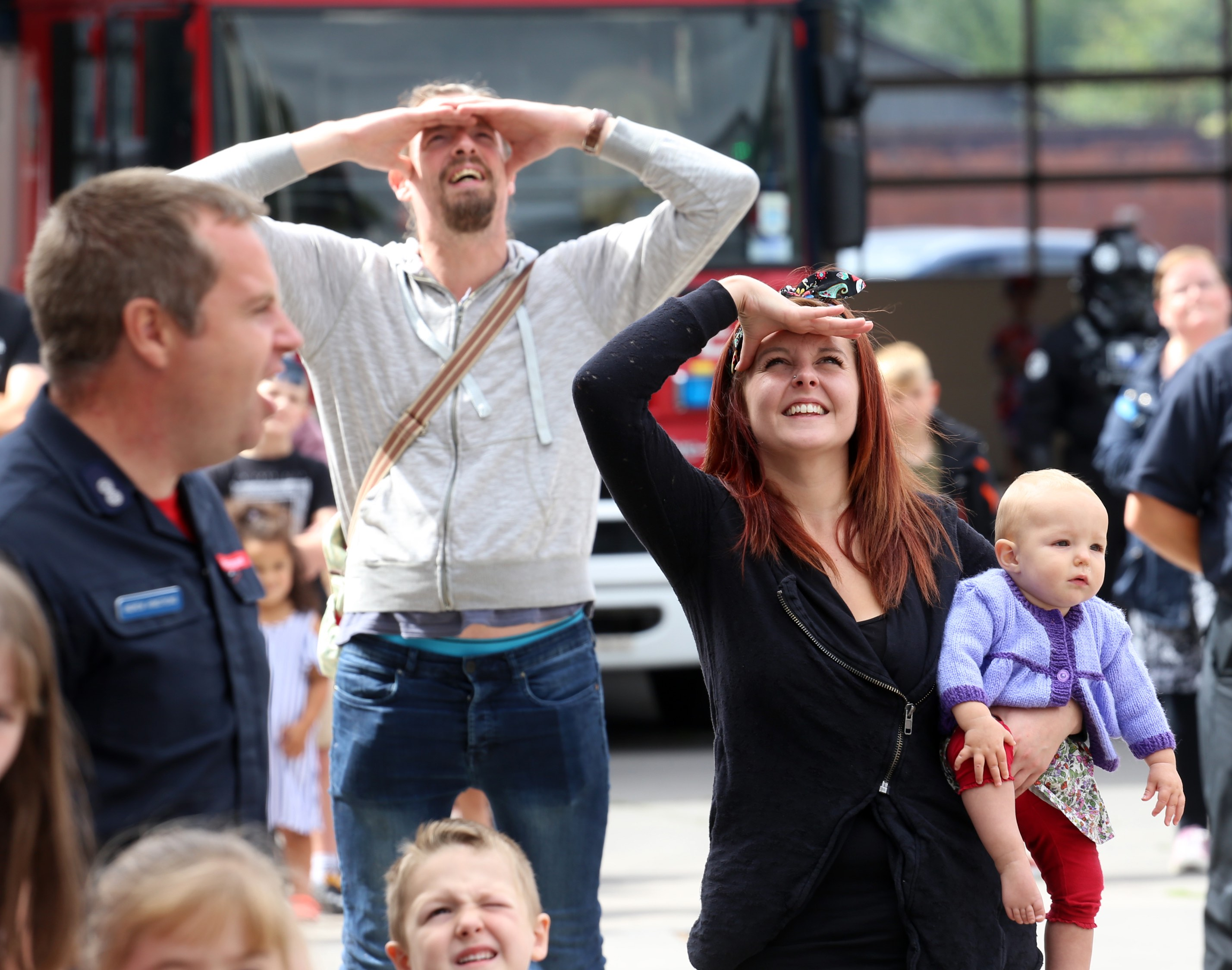 Visitors to the open day watch the ALP in action above Shrewsbury Fire Station