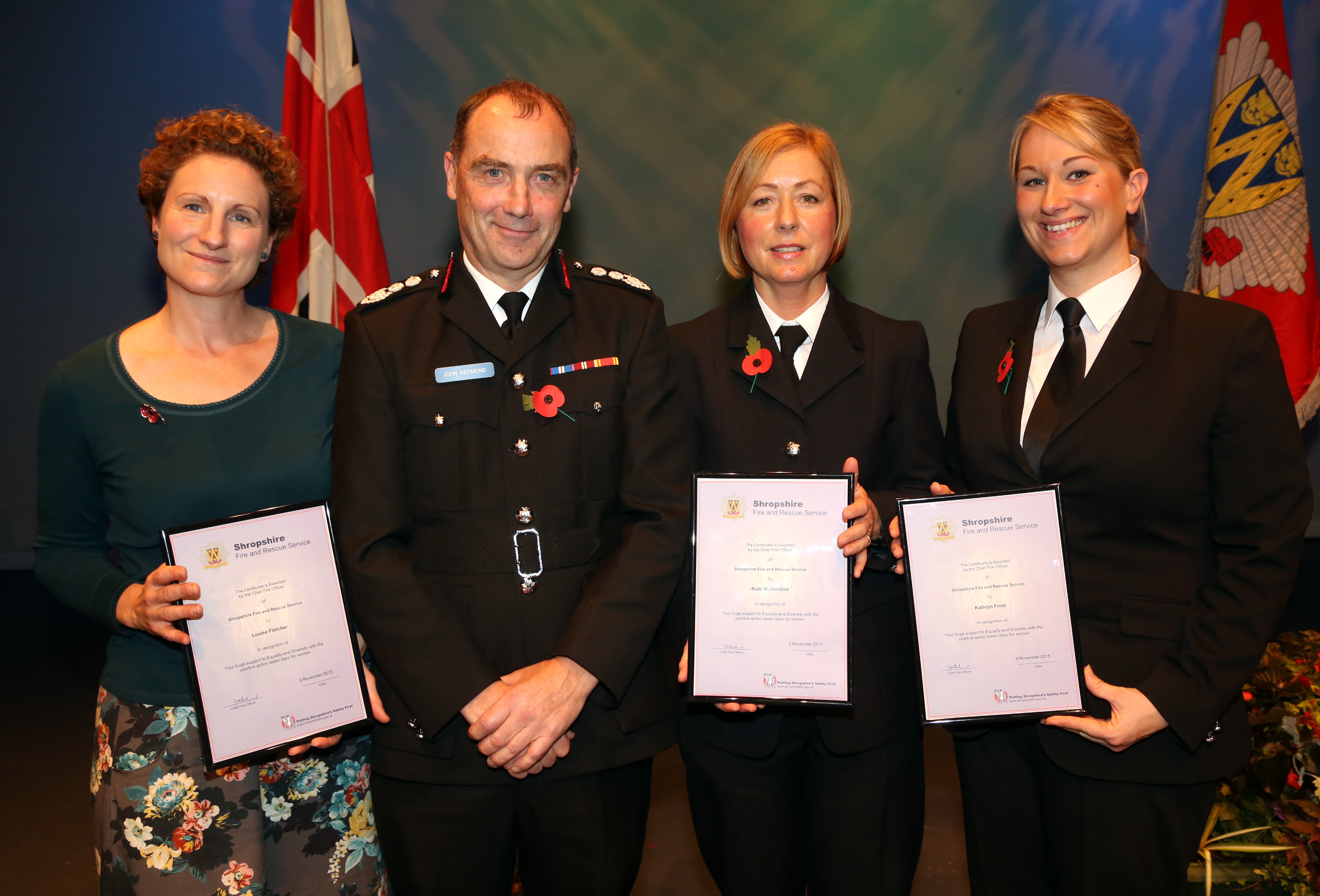 Firefighters Louise Fletcher, Ruth Walkerdine and Kat Frost encouraged more women to become firefighters