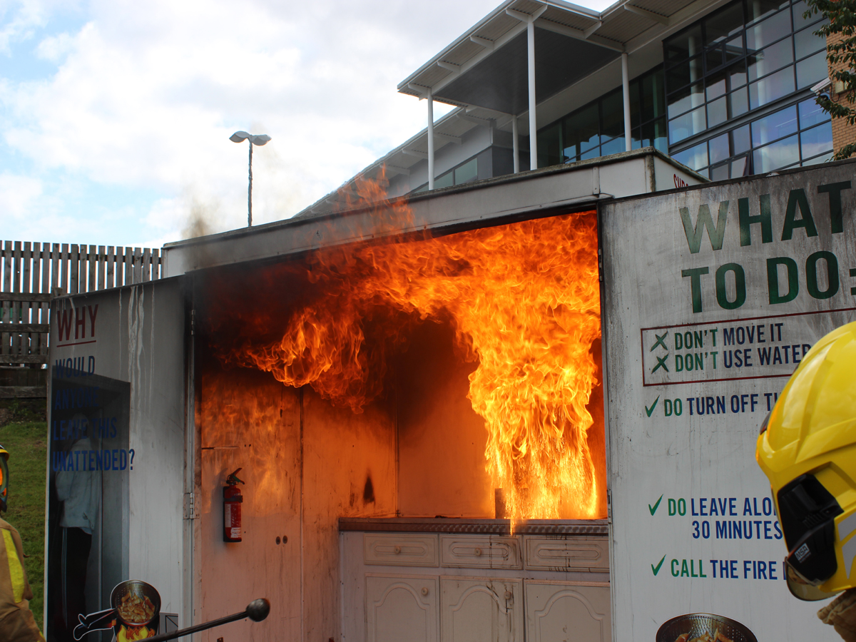 The dangers of a kitchen fire were graphically demonstrated at Wellington fire station's open day