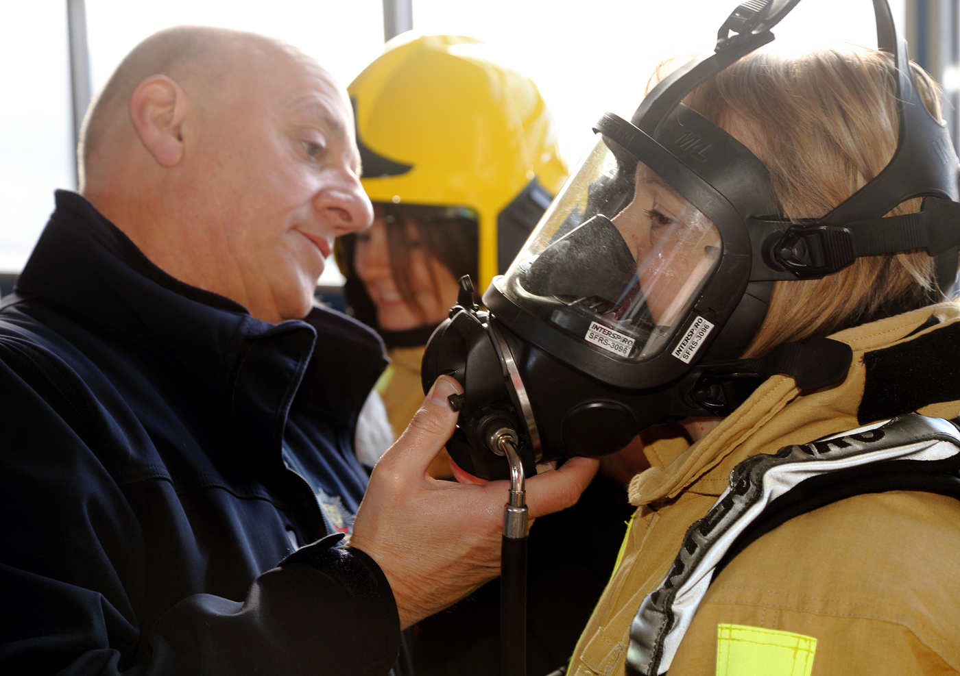 Oswestry's Mel Kapitanec shows how to fit breathing apparatus