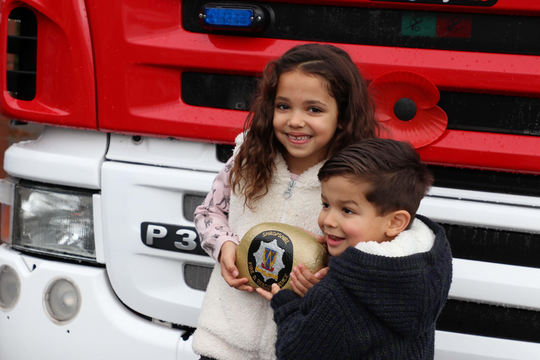 Sophia and Saul Moody at Market Drayton Fire Station