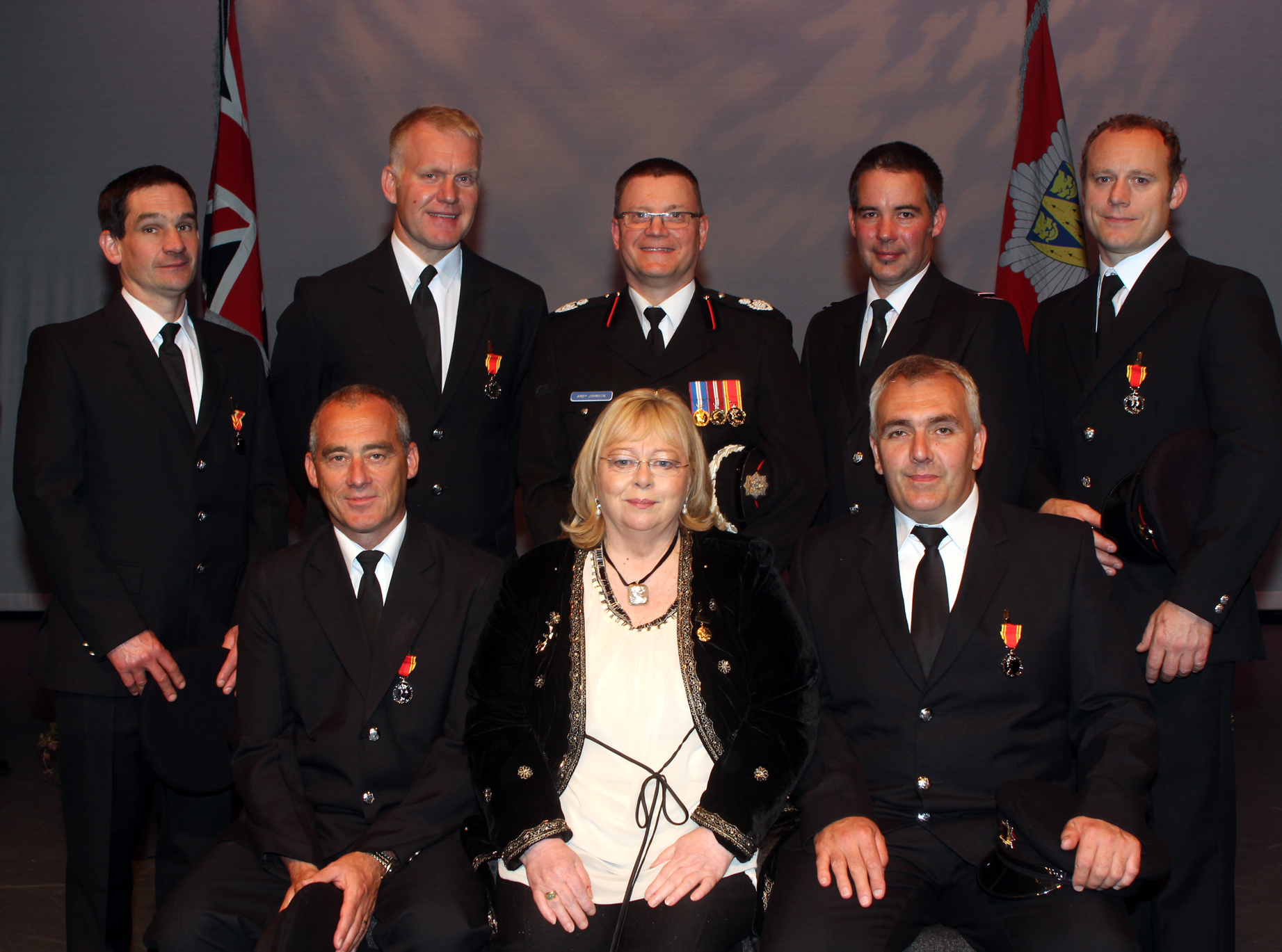 Shrewsbury Long Service and Good Conduct award winners with Assistant Chief Fire Officer Andy Johnson ( back centre)