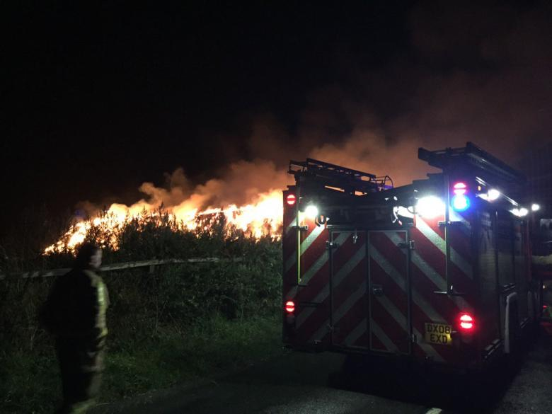 Market Drayton and Wellington firefighters battle a blaze in Crudgington