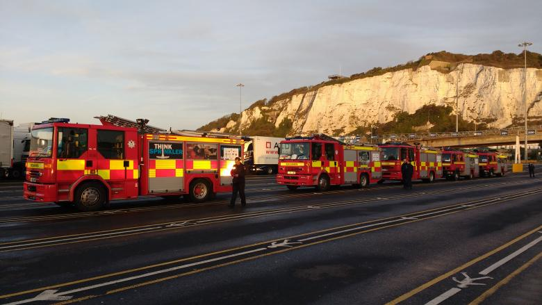 Five fire engines arrive at Dover on their journey from Shropshire to Romania
