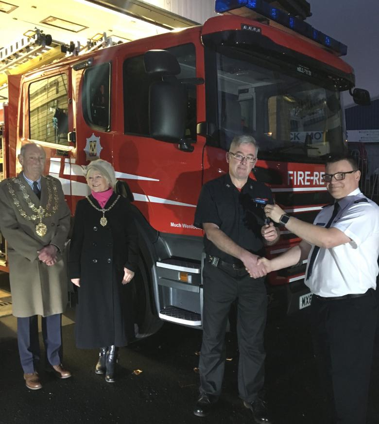 Deputy Chief Fire Officer Andy Johnson (right) hands over the keys to the new fire appliance for Much Wenlock to Watch Manager Alastair Humphries with the town's mayor, Councillor Graham Edgcumbe Venning and his wife Christine, the mayoress.