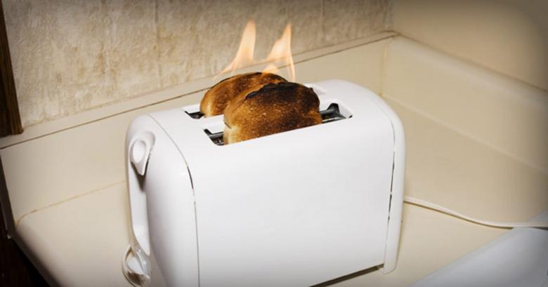 Toaster On Fire ~ Register your electrical appliances to stay safe