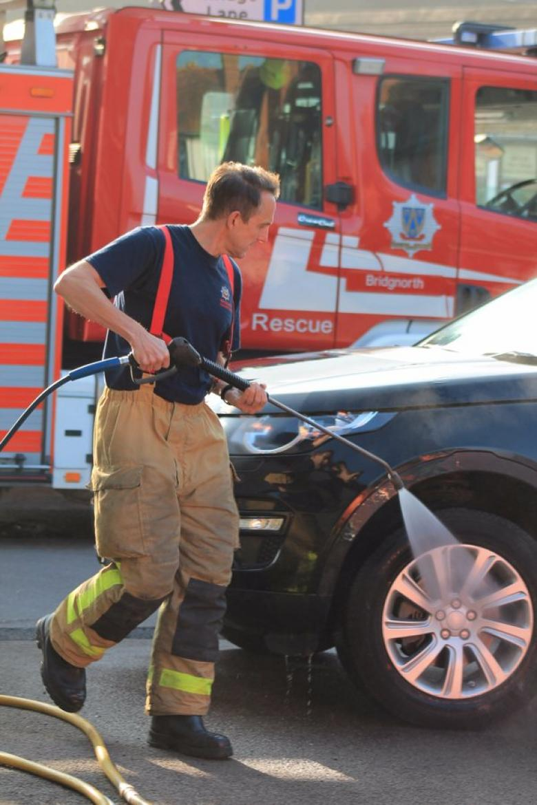 Shropshire firefighters hold a charity car wash each year for the Fire Fighters' Charity