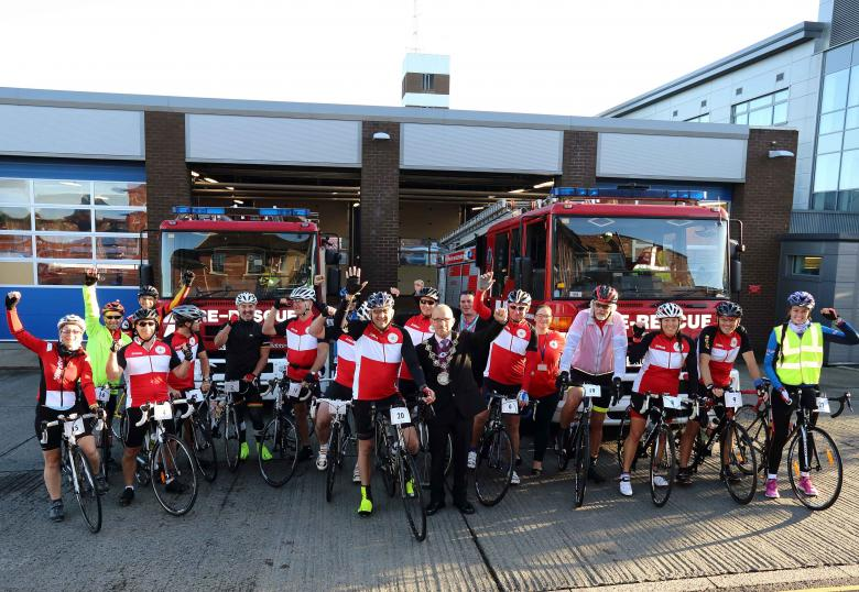 Cyclists from Shropshire Fire and Rescue Service start a 239 mile charity cycle ride