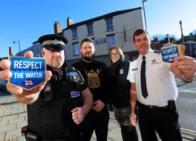 Constable Kev Roberts, The Alb licensee James Hitchin, Helen Ball, of Shrewsbury Town Council and James Bainbridge, Station Officer for Prevention at Shropshire Fire and Rescue Service at the launch of the Don't Drink and Drown campaign in Shrewsbury.