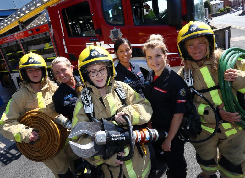 Kelly Eratt, Prees firefighter Lisa Baer, Chloe Upton, Albrighton firefighter Carly Woodman, Wem firefighter Gemma Higgins and Jo Dalietos