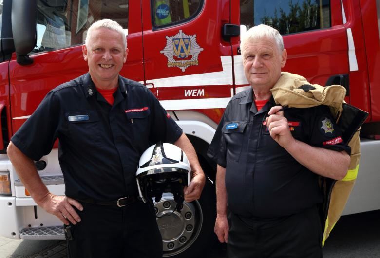 Still serving the Shropshire community after all these years – Phil Smith and Dave Furber are two of the longest serving firefighters in the UK