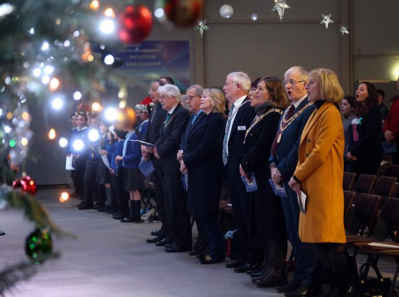Bicton School Choir and Shropshire dignitaries join voices at the Shropshire Fire and Rescue Service's Festival of Carols